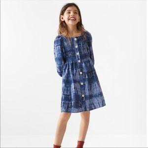 ZARA Linen Smocked Tie-Dye Dress Girls Sz 11/12